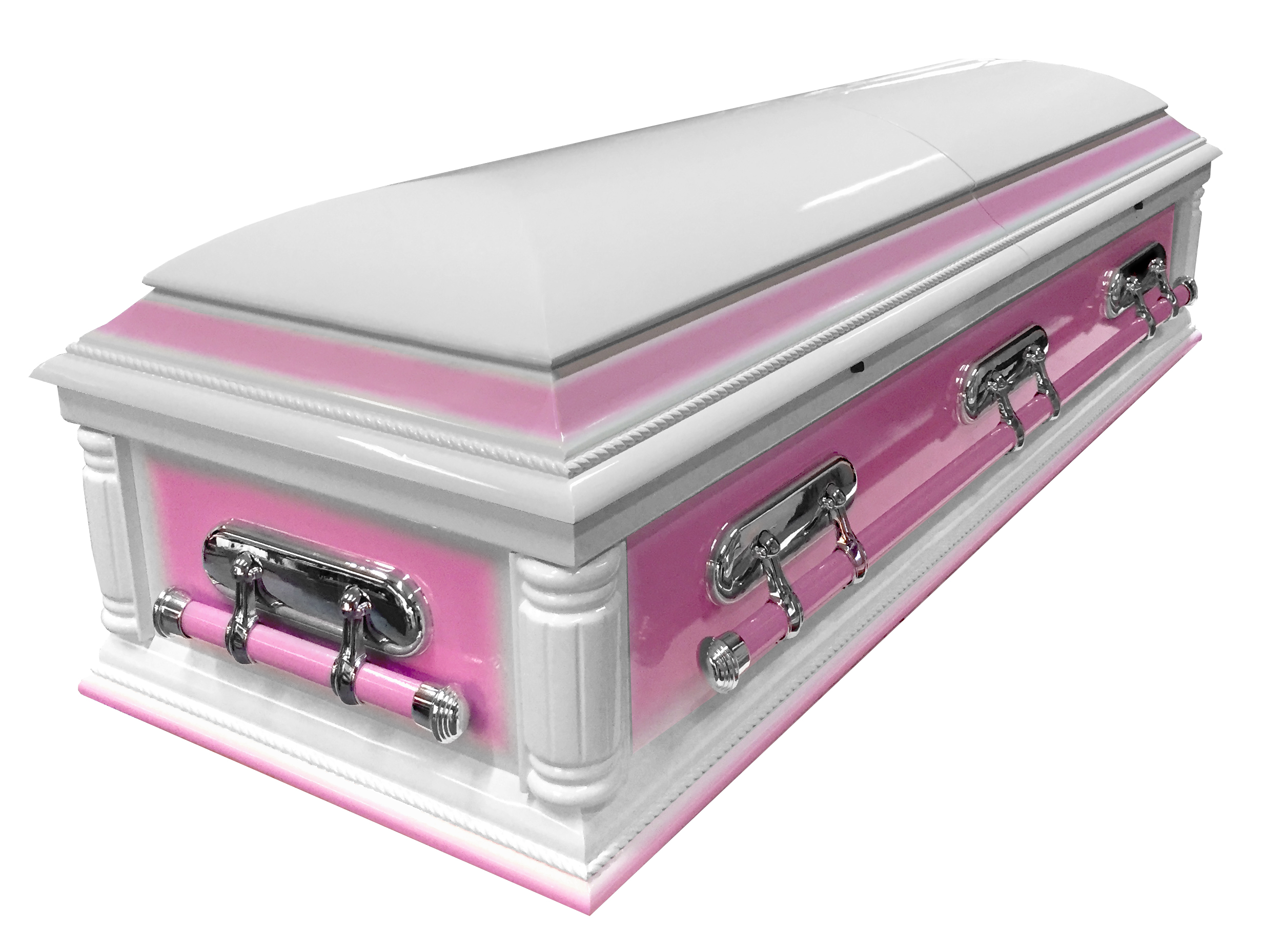 Solid Wood American Casket with Pink Contrast