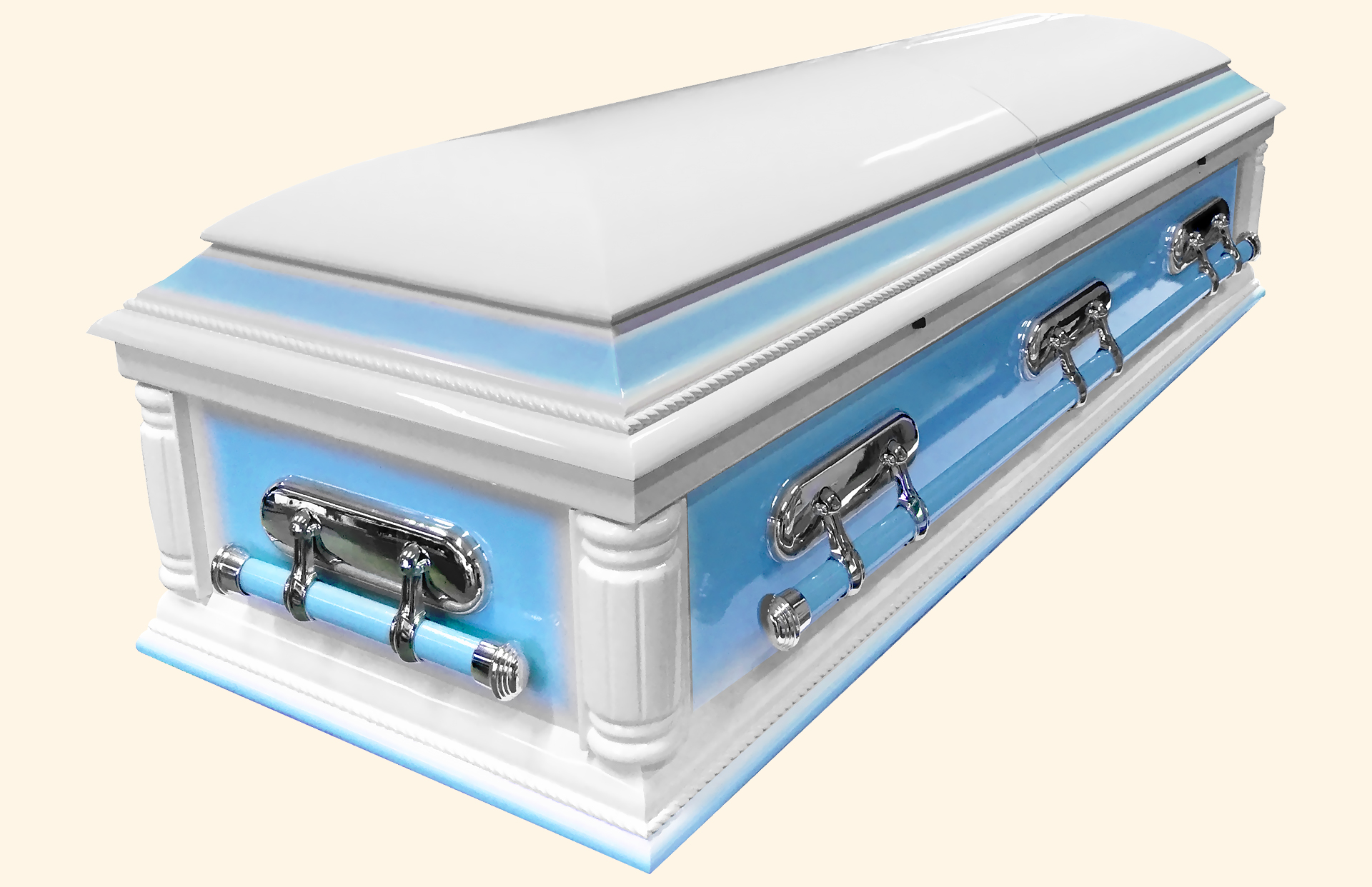 Purity Solid Wood American Casket with Blue Contrast