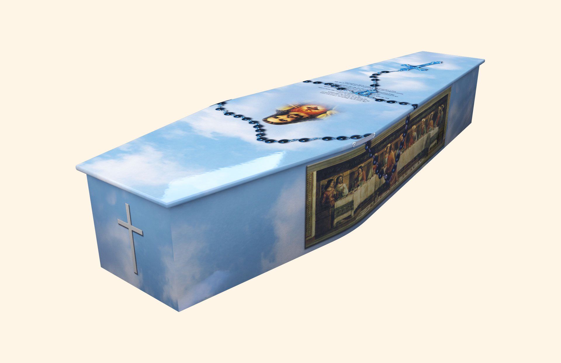 Last Supper 23 Psalm with Rosary Traditional coffin