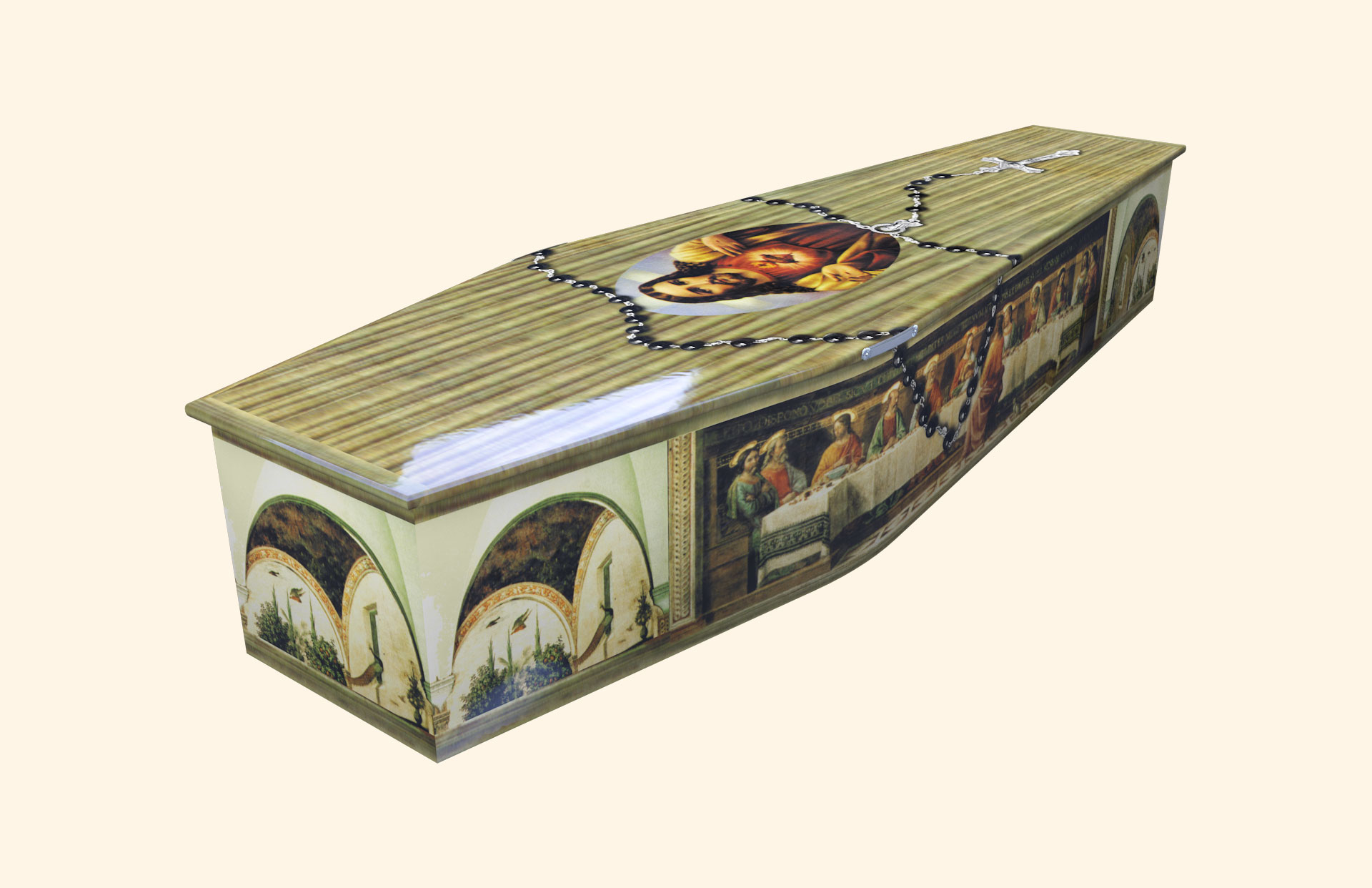 Last Supper with Rosary Traditional coffin