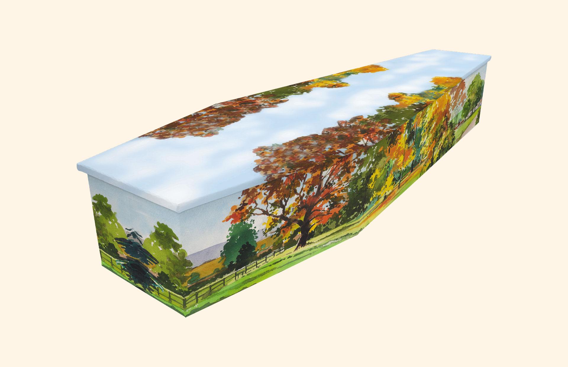 Autumn design on a cardboard coffin