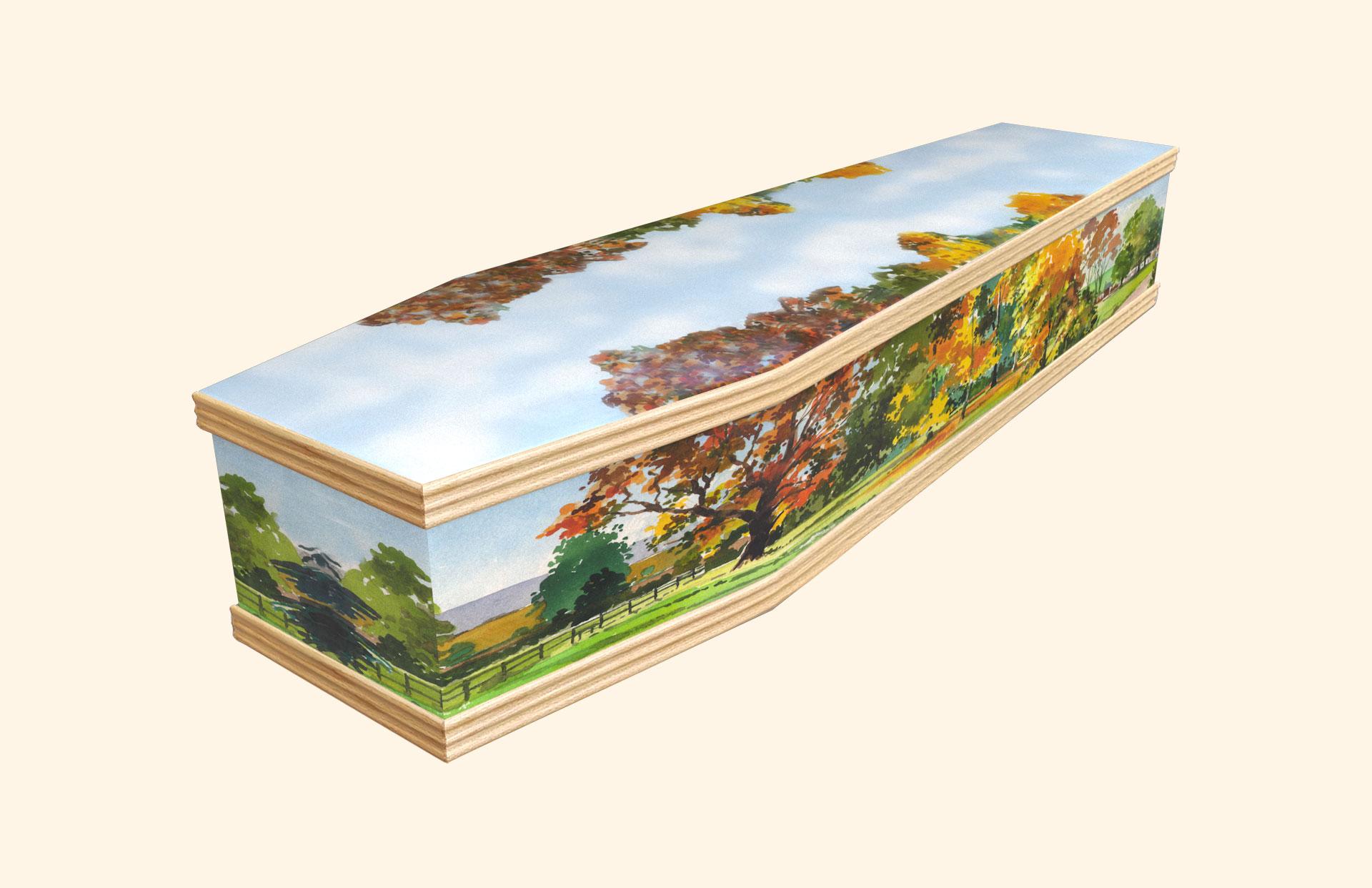 Autumn design on a classic coffin