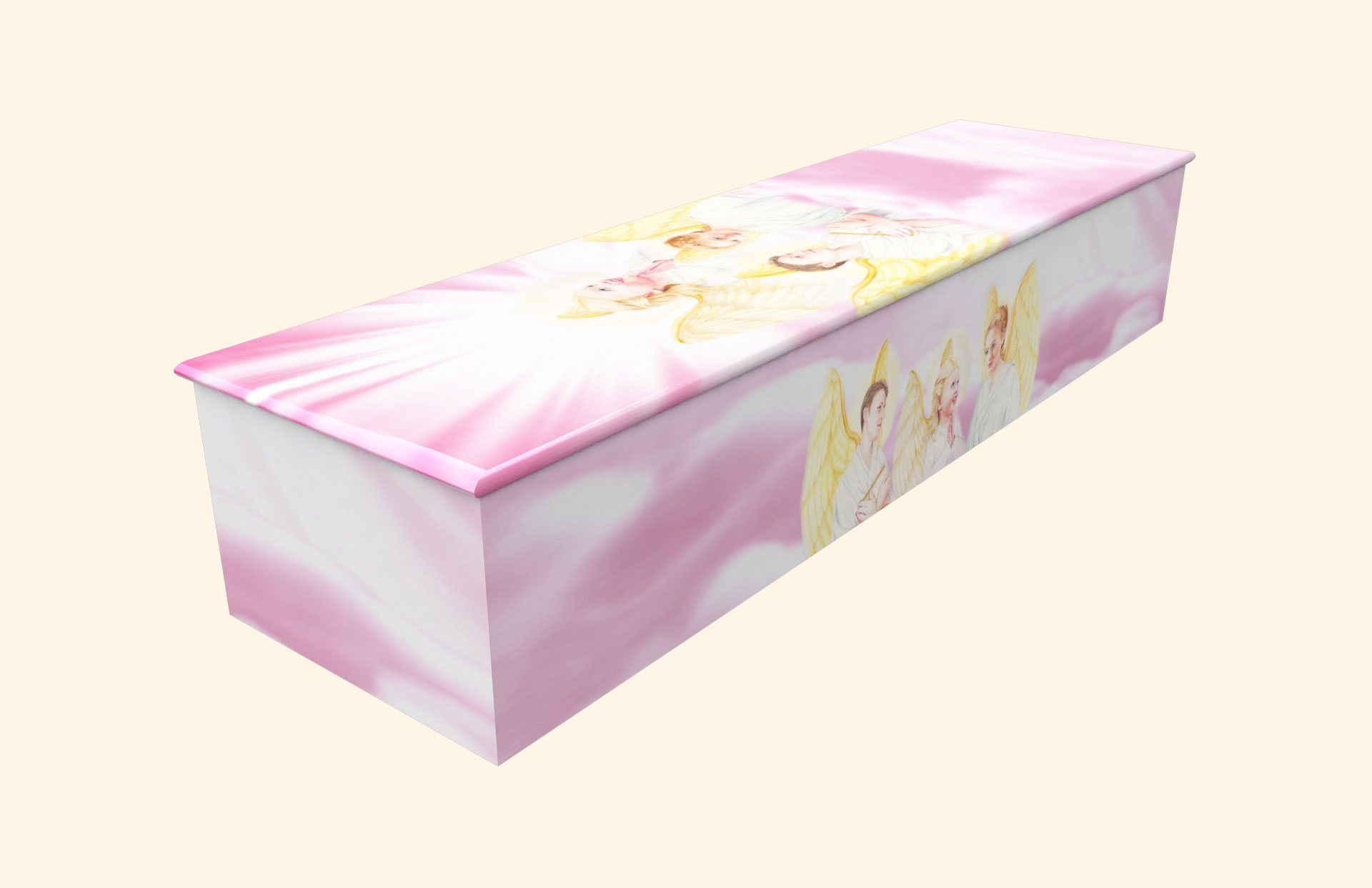 Three Angels B Wooden casket