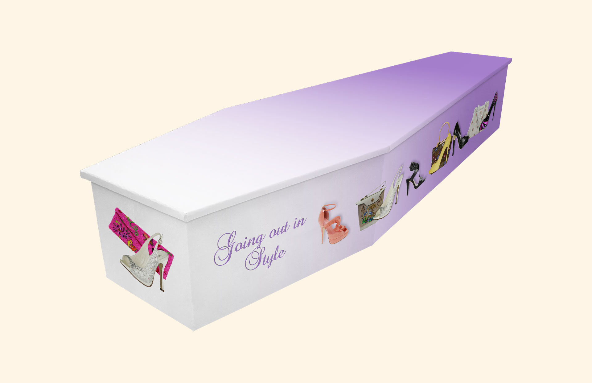 Going out in Style design in lilac on a cardboard coffin