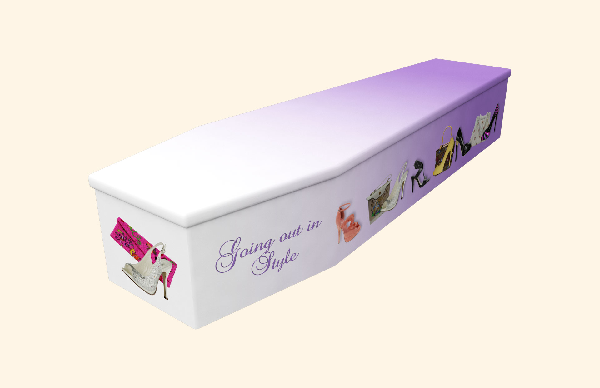 Going out in Style lilac Cardboard coffin