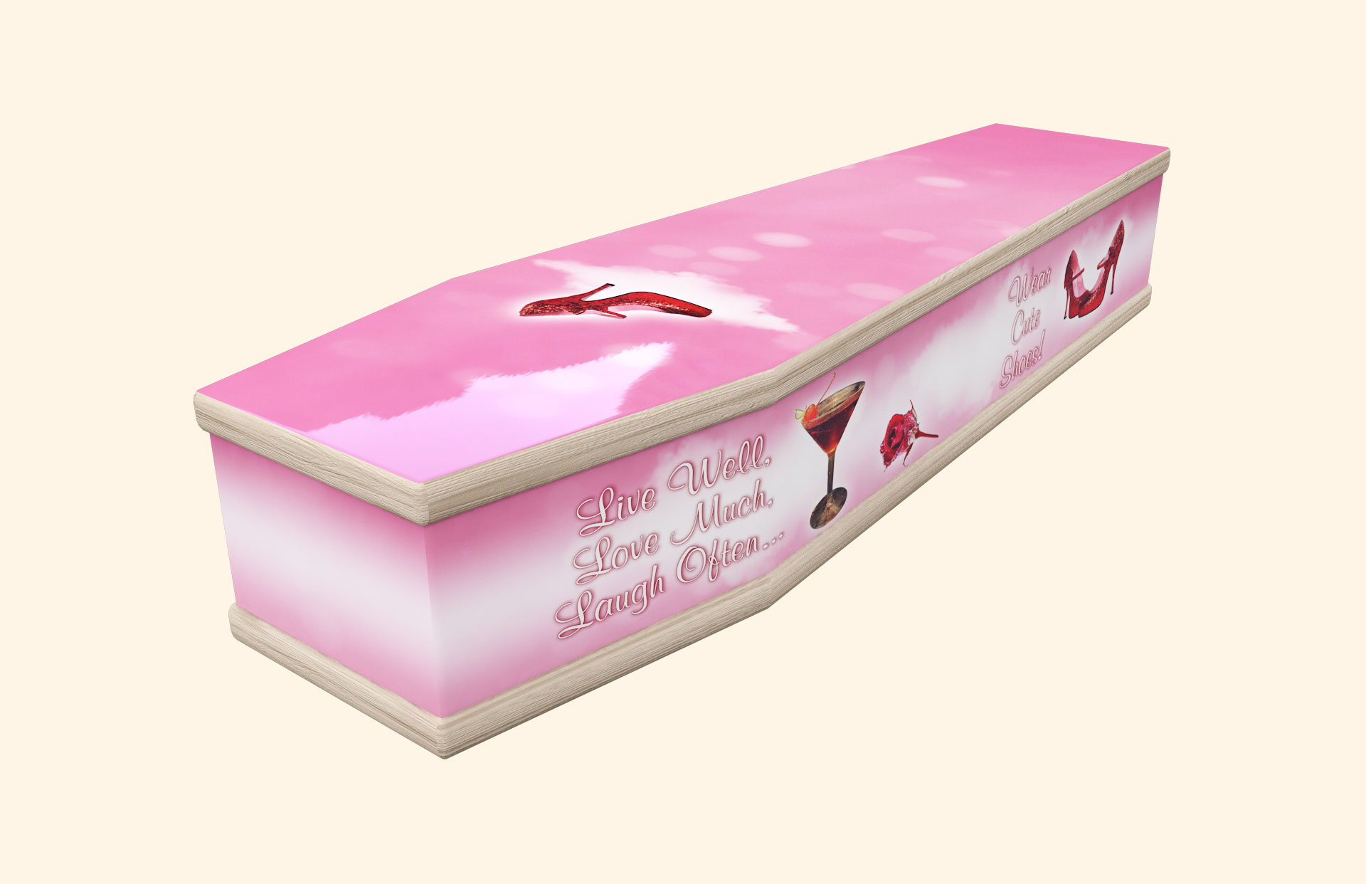 Cute Shoes pink in a classic coffin