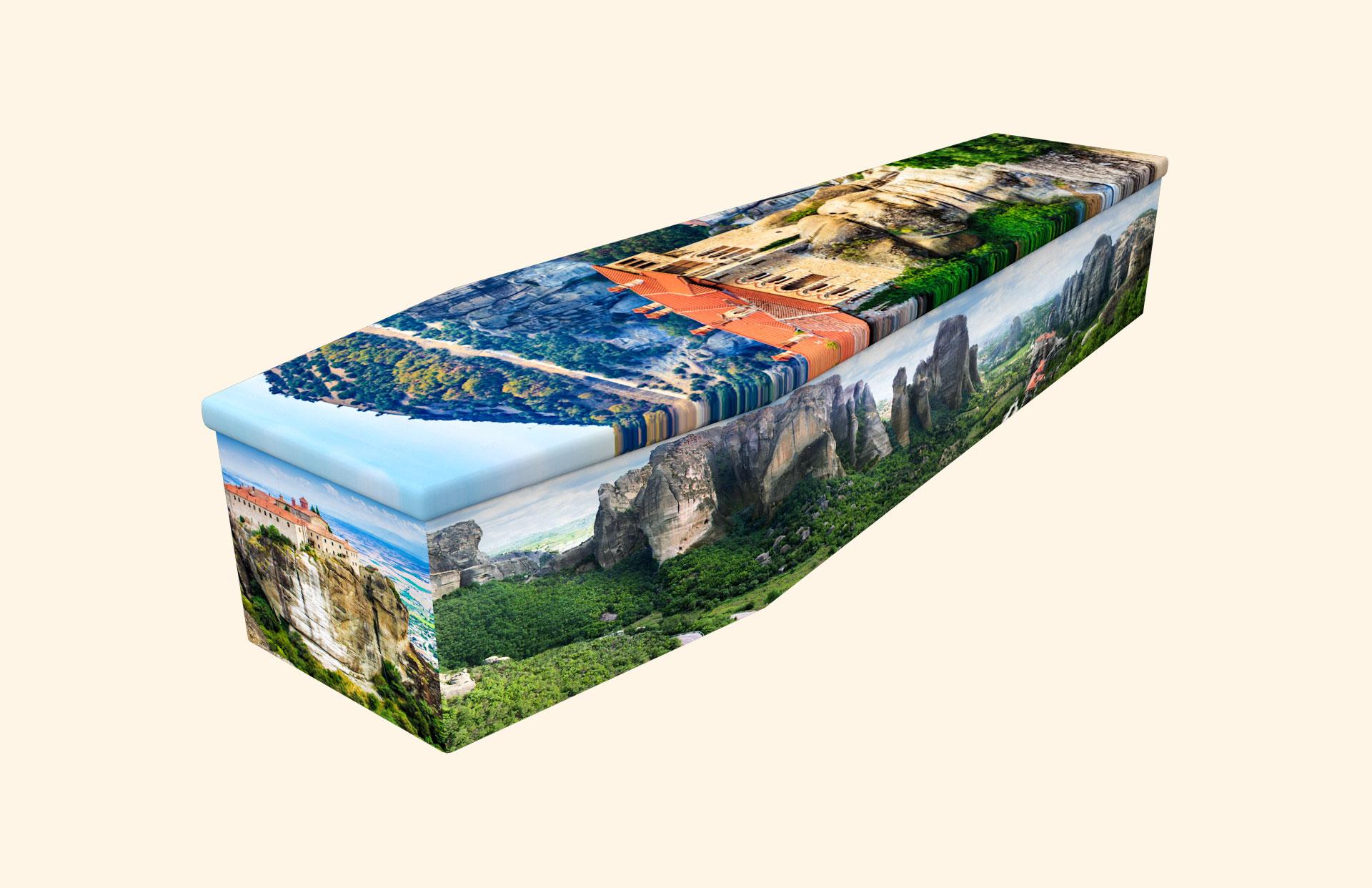 Monasteries of Meteora cardboard coffin