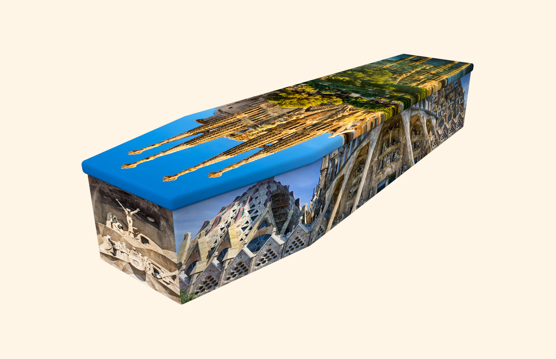 Sagrada Familia cardboard coffin