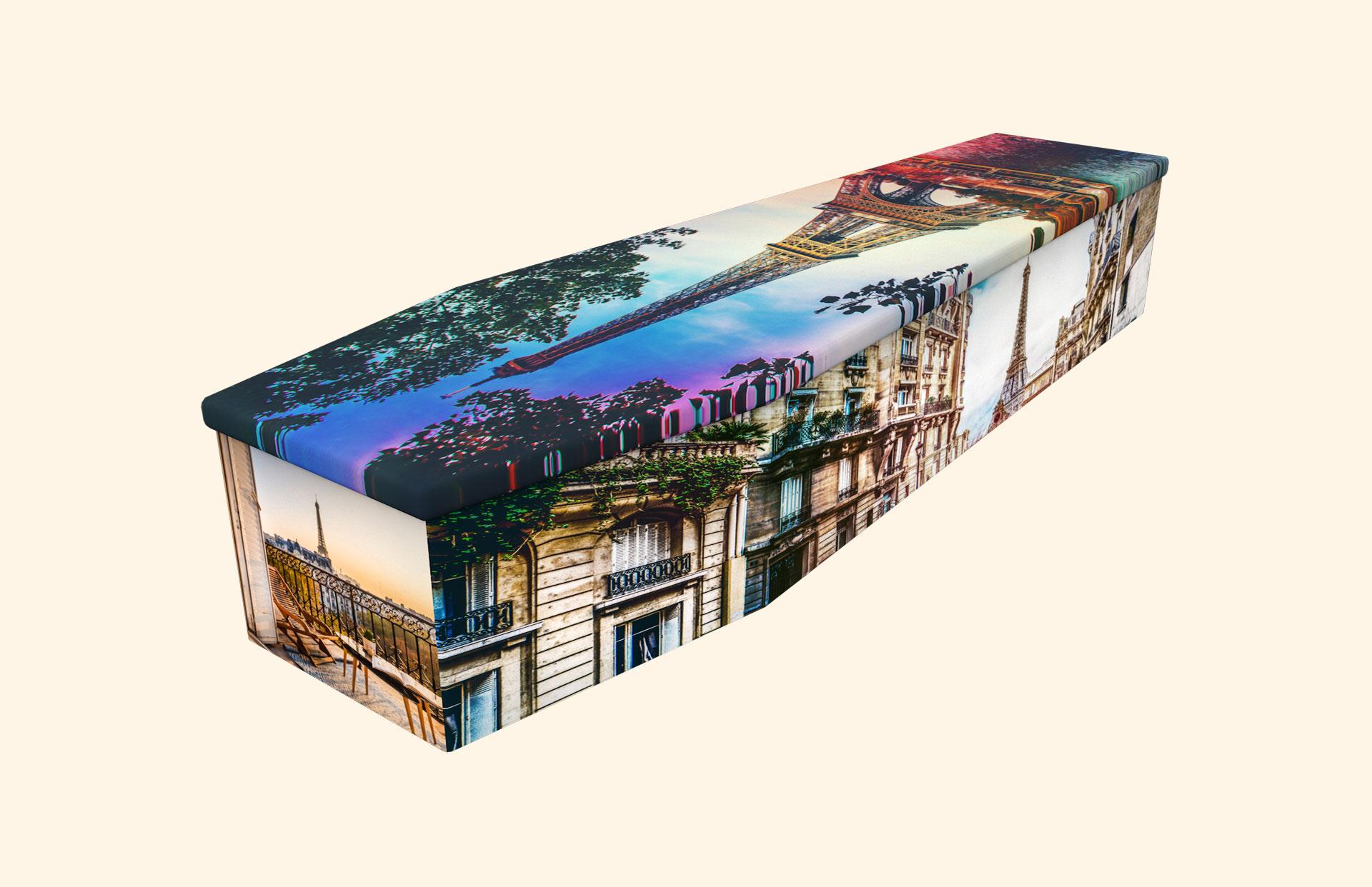 Eiffel Tower cardboard coffin