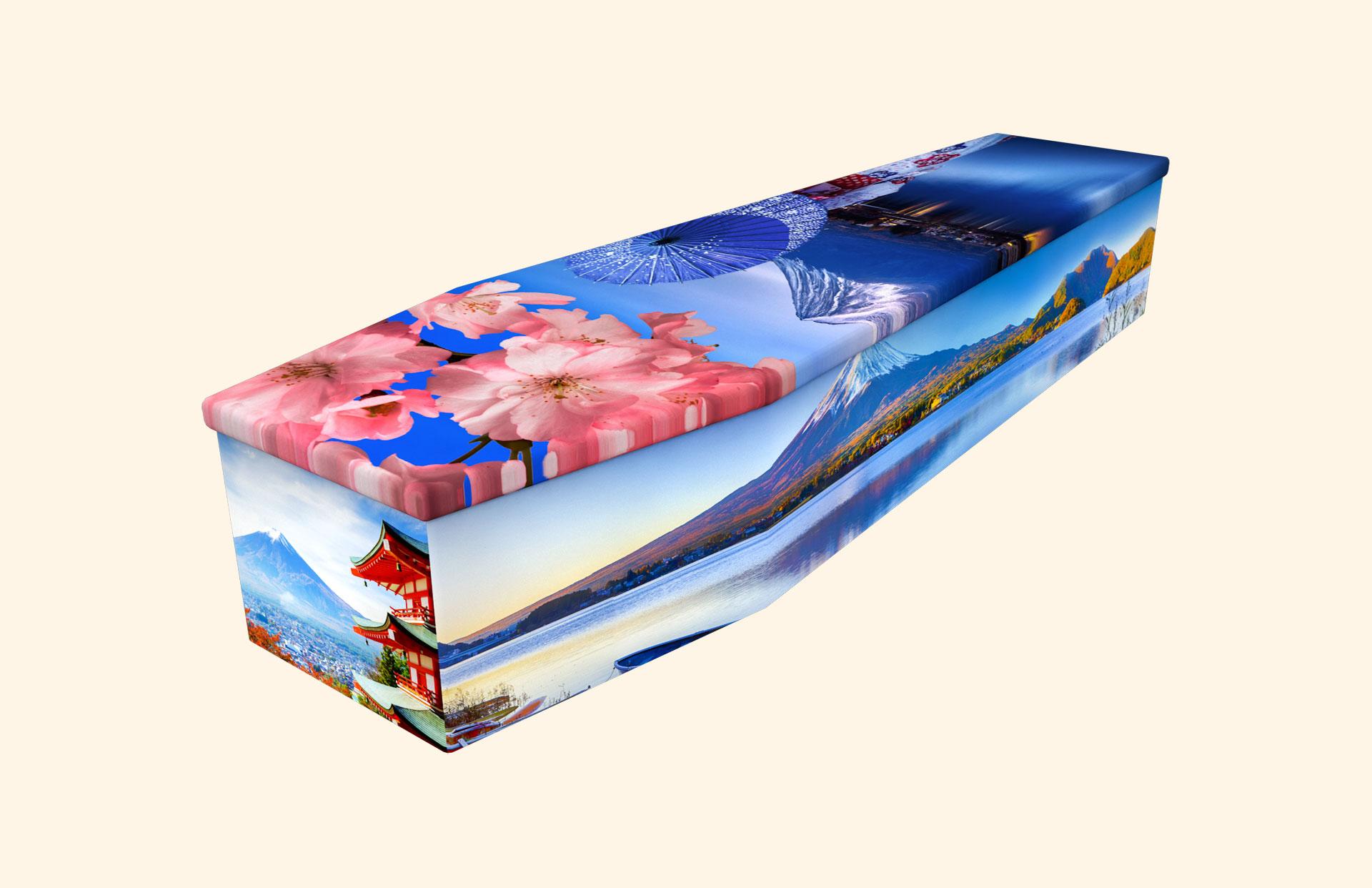 Mount Fuji cardboard coffin