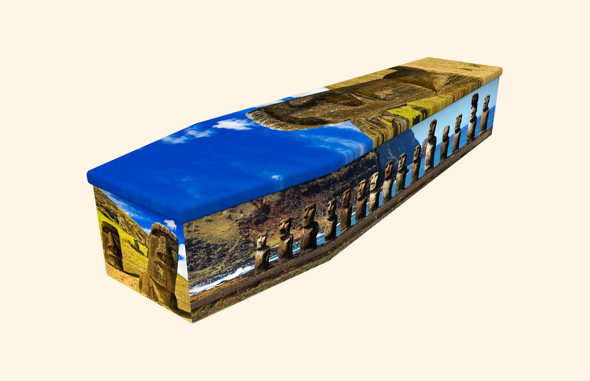 Moai Easter Island cardboard coffin