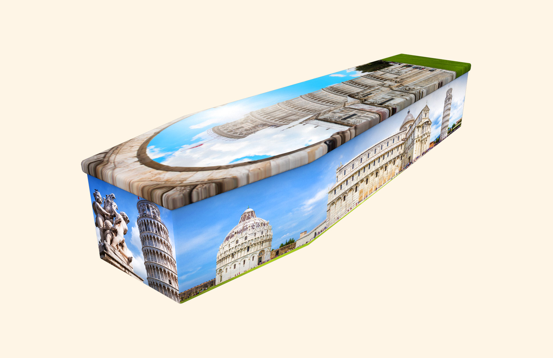 Leaning Tower of Pisa cardboard coffin