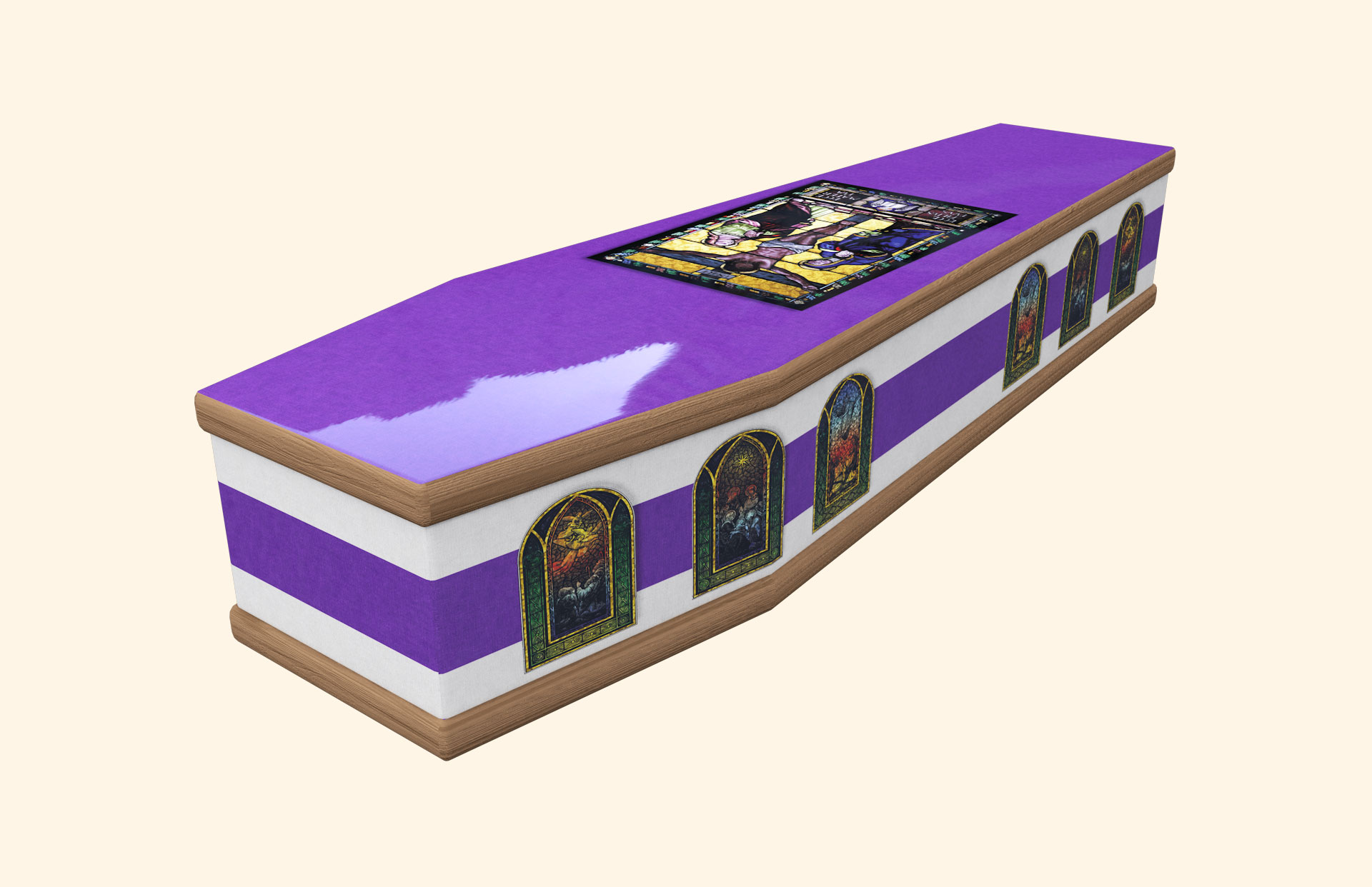 Stained Glass Purple & White Classic coffin