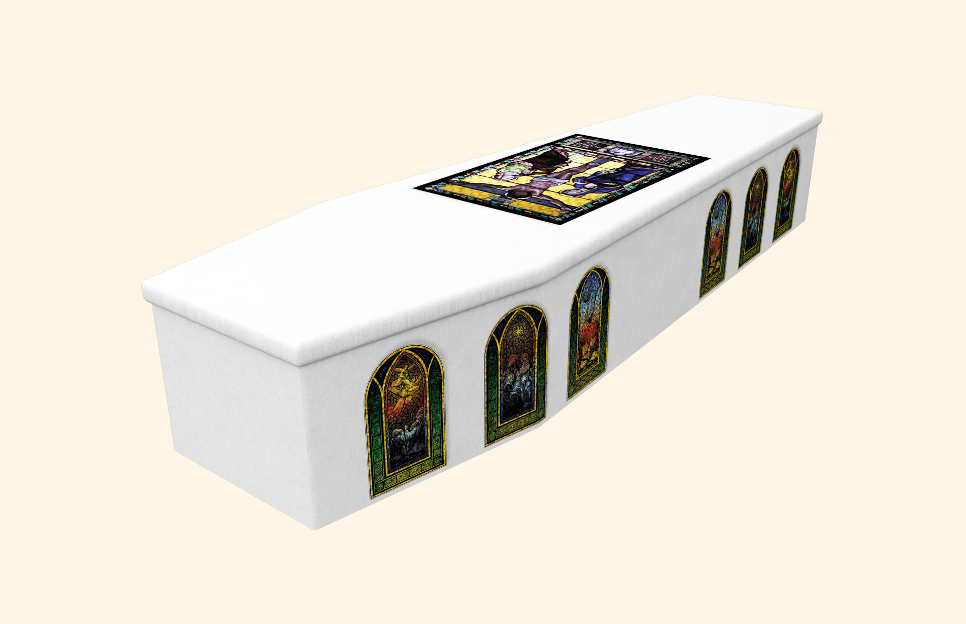Stained Glass White Cardboard coffin