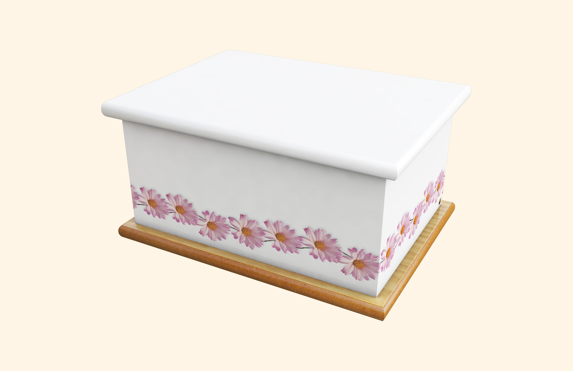 White with Pink Daisy Ashes Casket