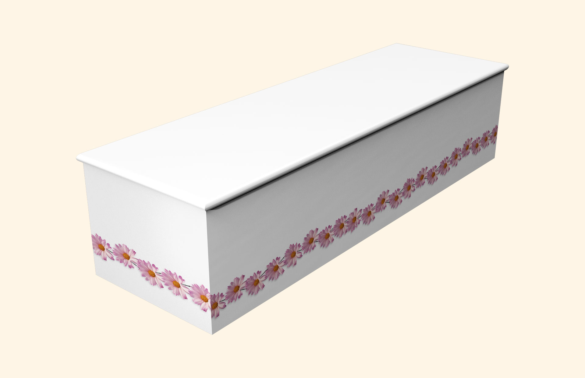 White with Pink Daisy Wooden Casket