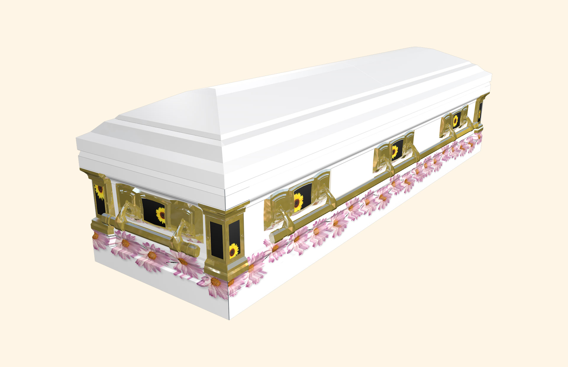 White with Pink Daisy Devotion American Casket
