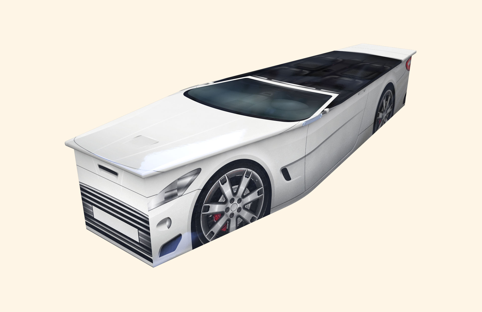 Duncans Sport Car White Traditional coffin