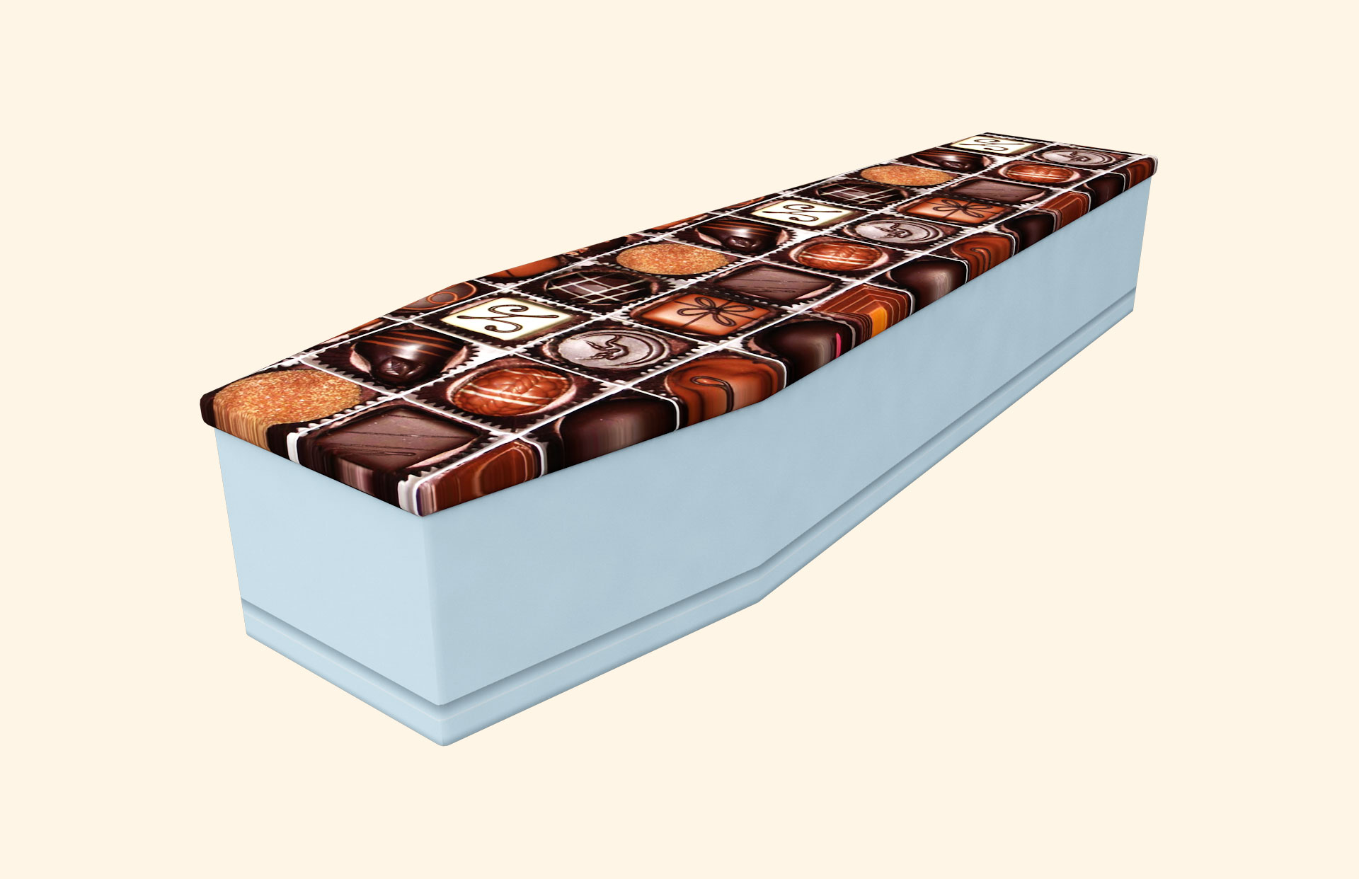 Chocoholic Skyblue Cardboard Coffin
