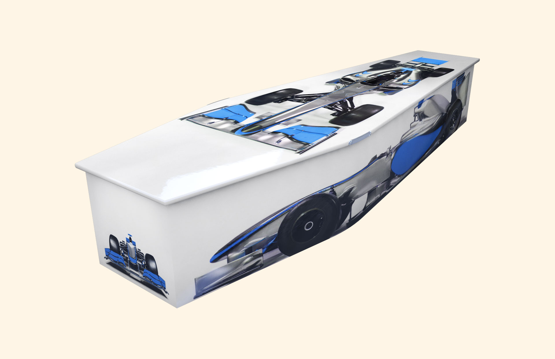Racing Moments Blue Traditional coffin