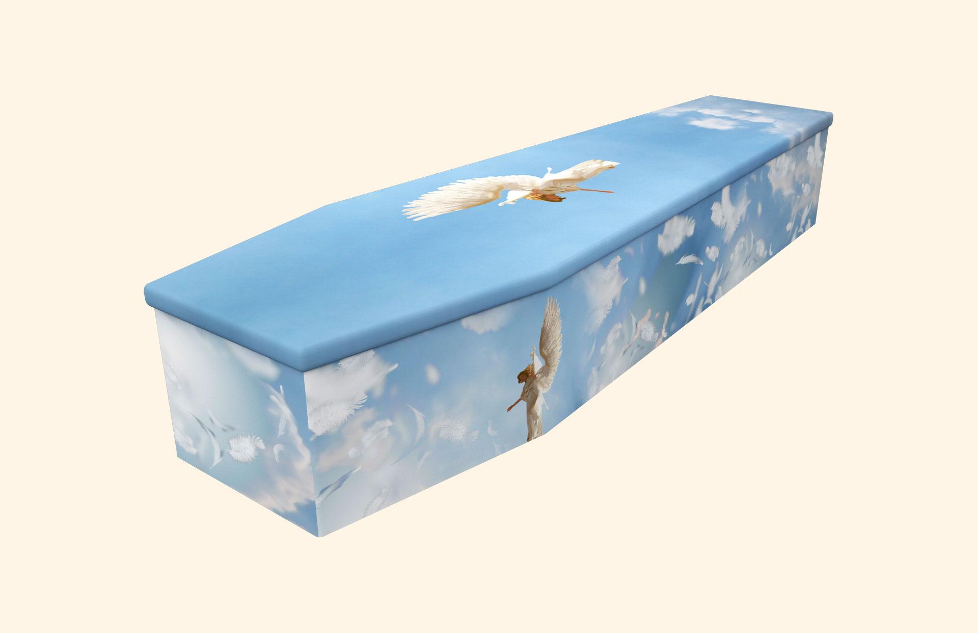 Heavenly Angel Feathers Cardboard coffin