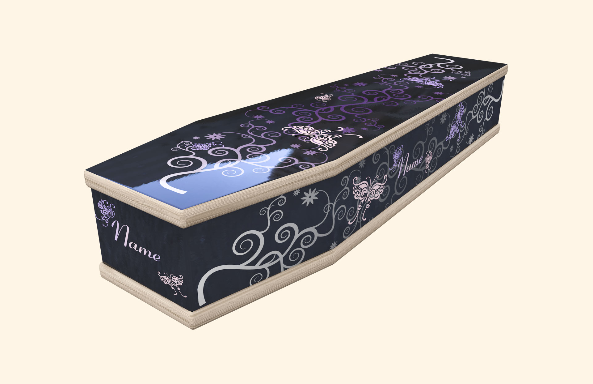 Butterfly Ribbons black in a classic coffin