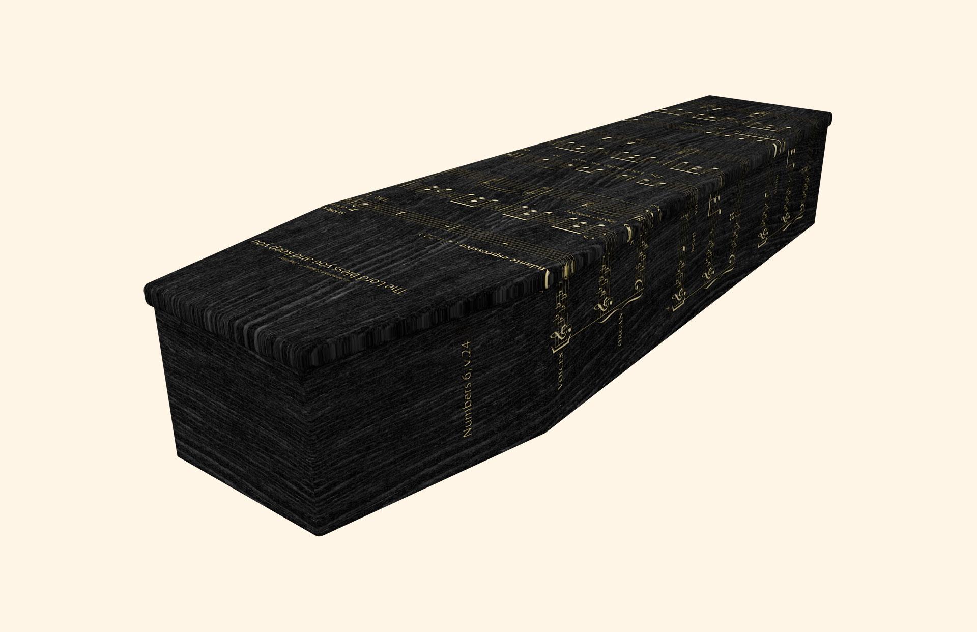 Lord Bless You Black Oak Cardboard coffin