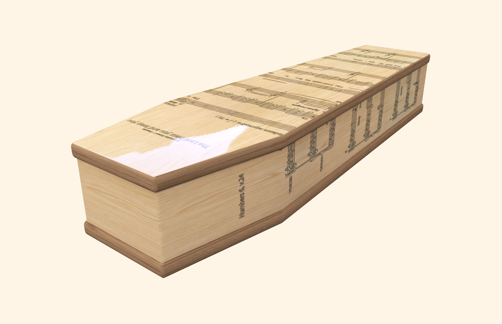 Lord Bless You Light Oak Classic coffin
