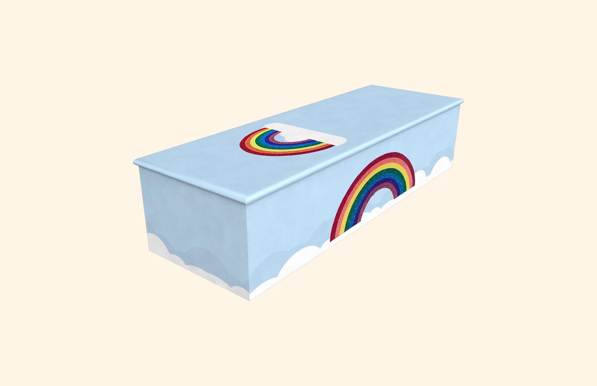 Glittering Rainbow Baby Blue child casket