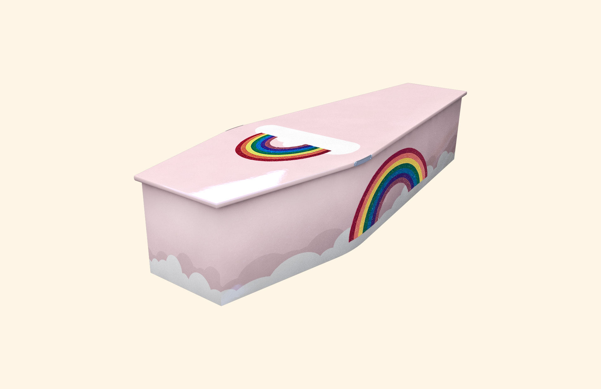 Glittering Rainbow Baby Pink child coffin