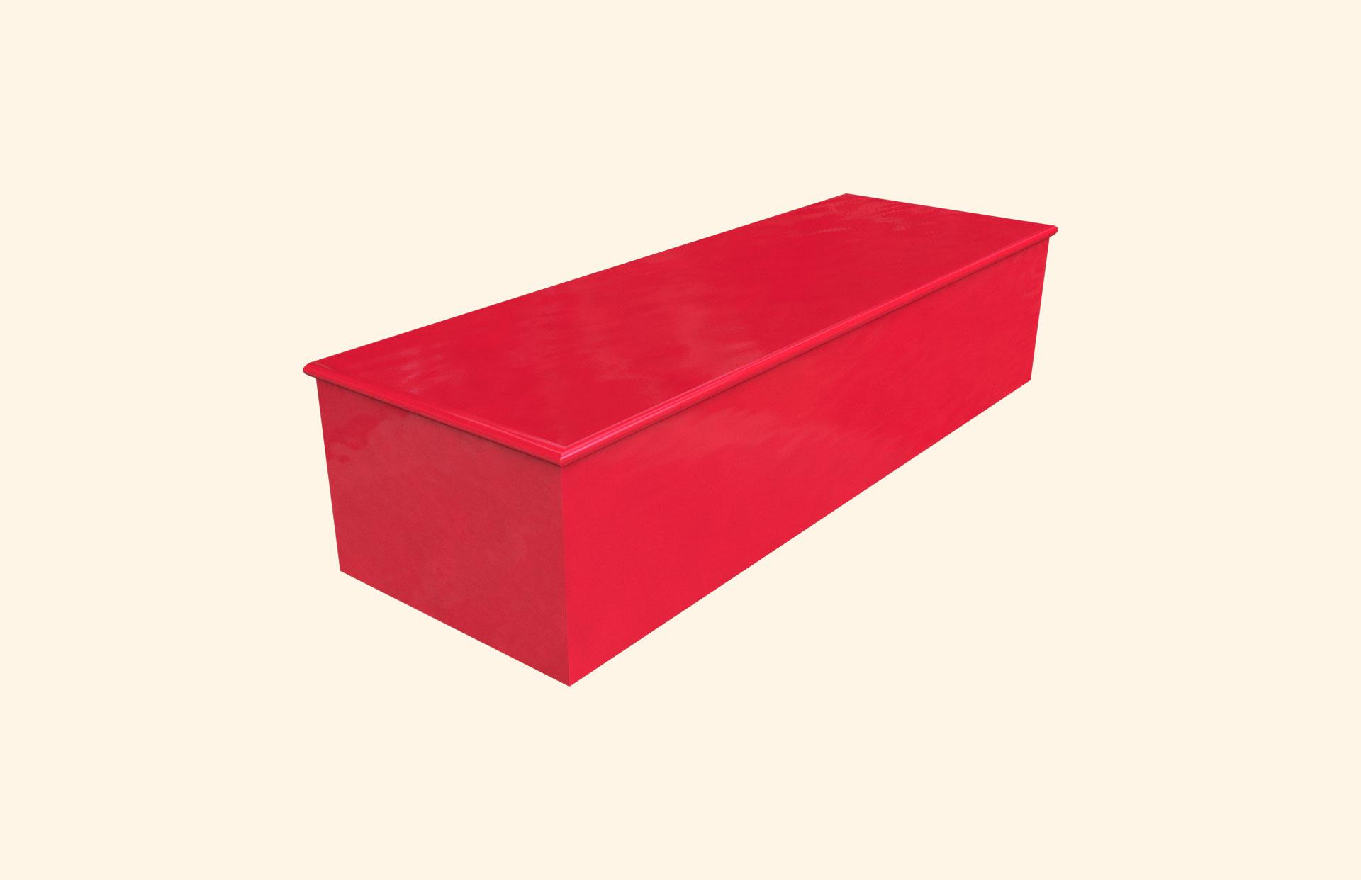 Plain Colour Bright Red child casket