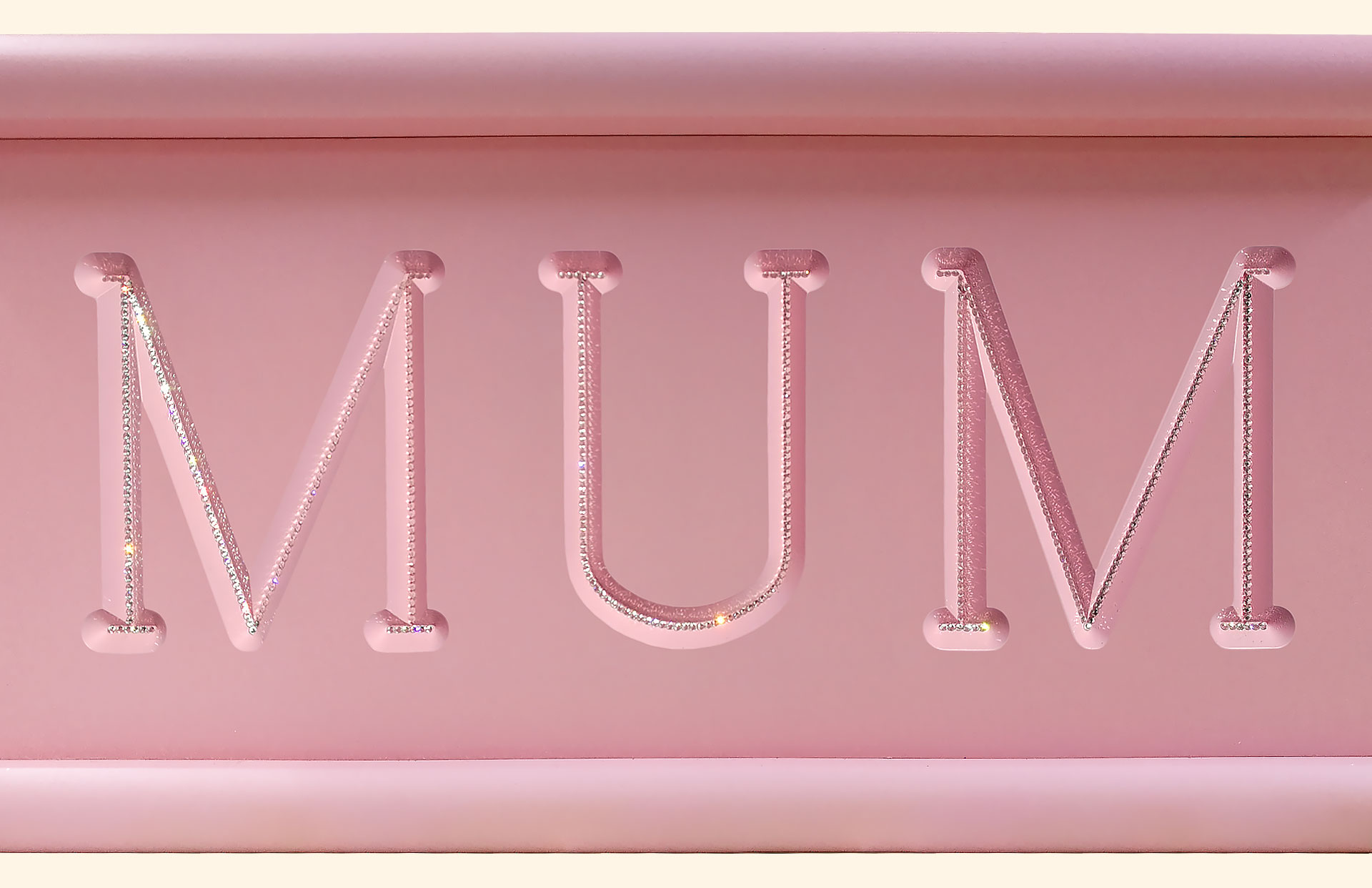 Carved Cremated Remains caskets in pink with crystals details