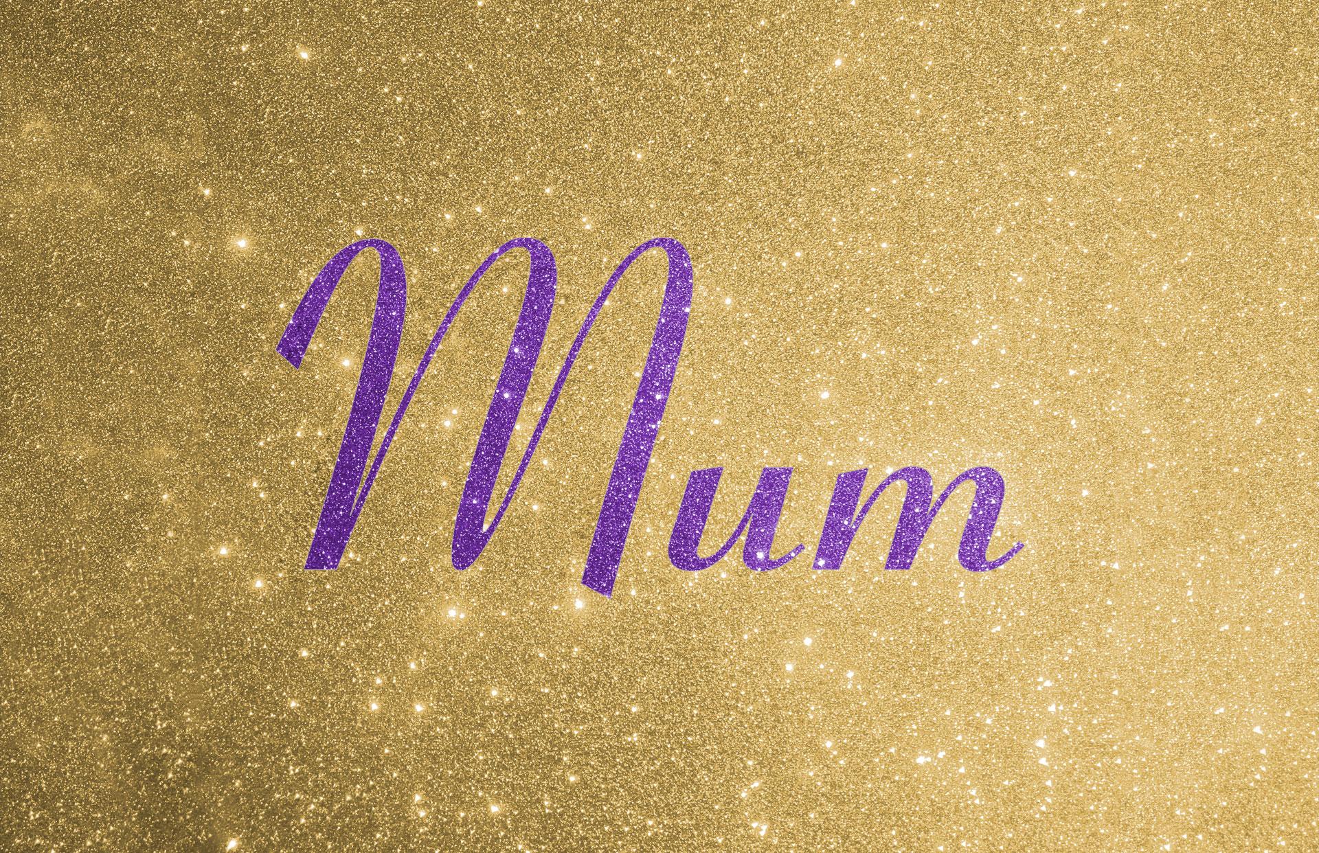 Glitter contrast wording shown in purple