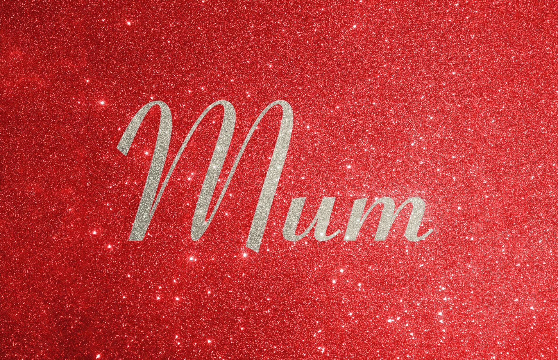 Glitter contrast wording shown in platinum