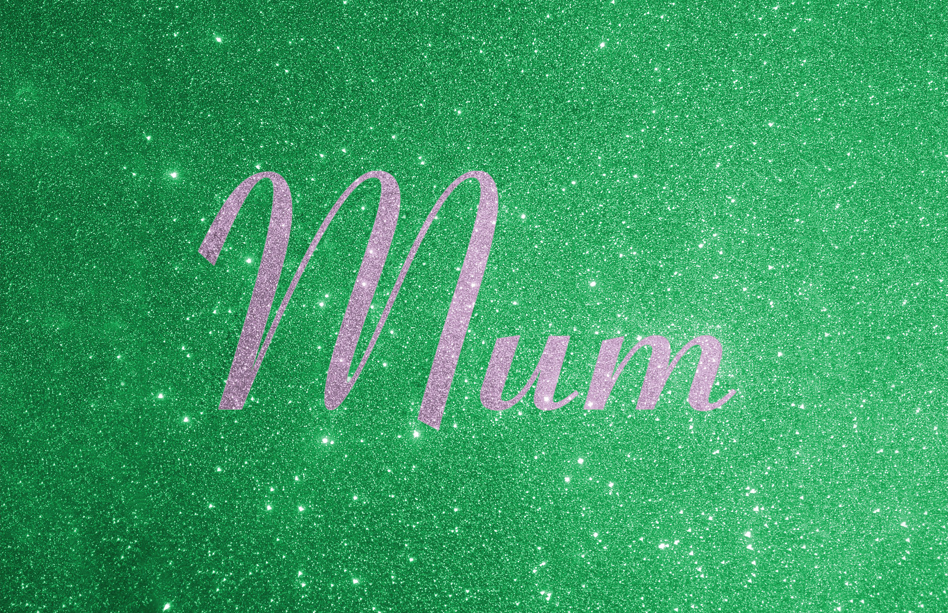 Glitter contrast wording shown in lilac