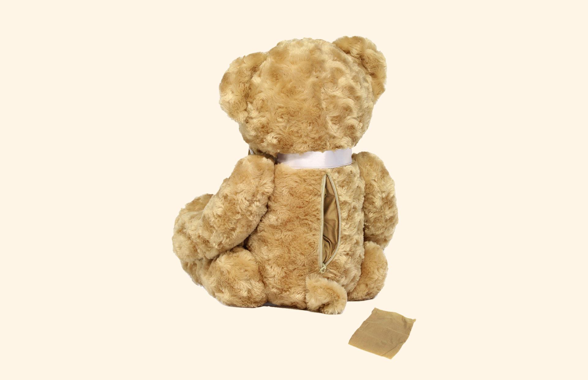 Memory Bear back, zip and cloth bag