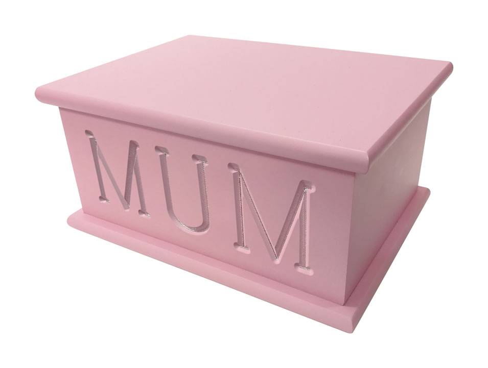 Carved ashes casket in pink