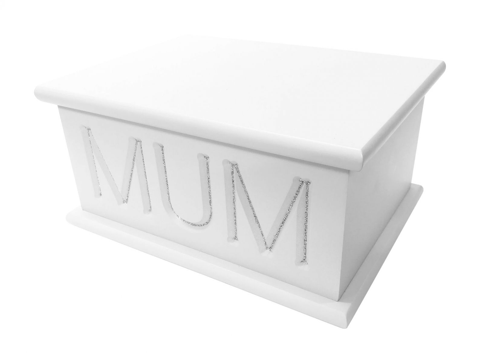 Carved ashes casket in white