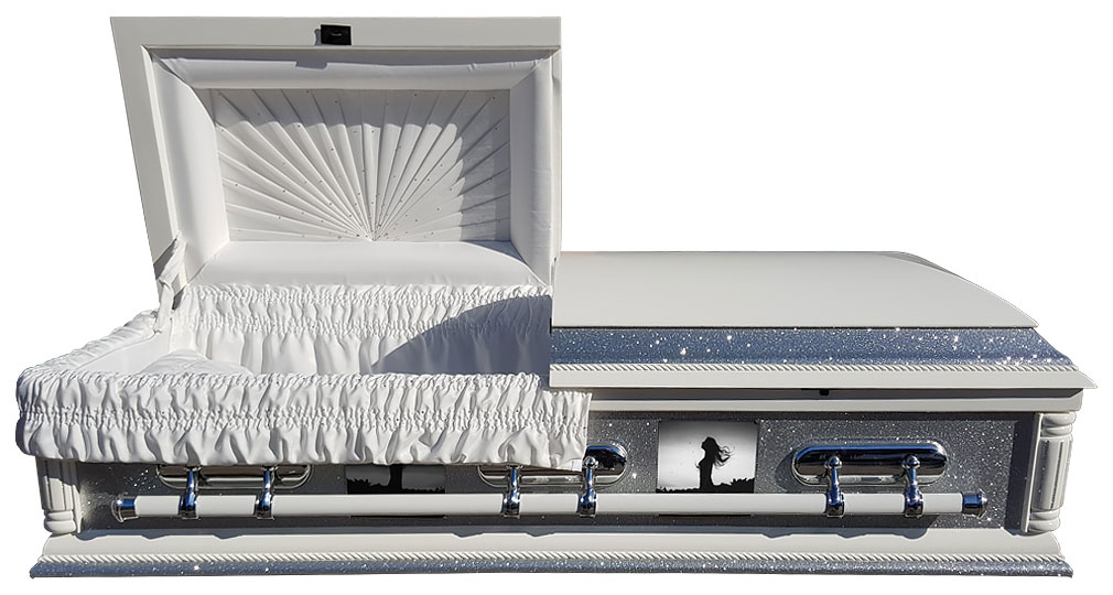 Purity American casket with glitter and crystals