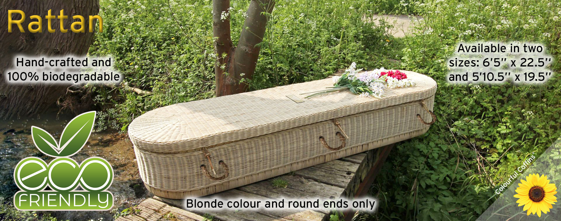 Blonde Rattans by Colourful Coffins in two sizes 100% biodegradable eco-friendly
